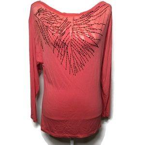 Jennifer Lopez peach beaded blouse shirt S